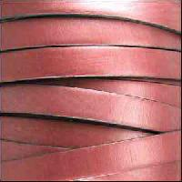 10mm Flat Leather Cord - Metallic Rose - per inch