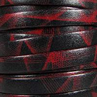 Ornate 10mm Printed Italian Flat Leather Cord - Red Laser - per inch