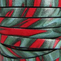 Ornate 10mm Printed Italian Flat Leather Cord per 2 Meters - Jungle