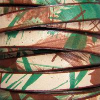 10mm Flat Leather Cord - Camouflage - per inch