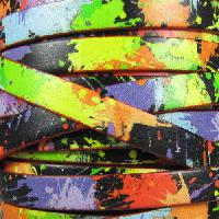 Ornate 10mm Printed Italian Flat Leather Cord per 2 Meters - Neon Splatter