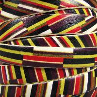 Ornate 10mm Printed Italian Flat Leather Cord per 2 Meters - Angled Stripes