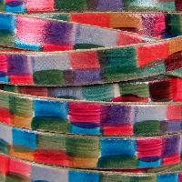 Watercolor 10mm Flat Leather Cord - Squares - per inch