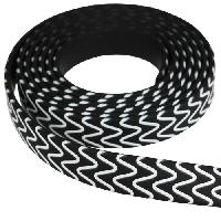 Fantasy 10mm Flat PVC Cord - Black with White Squiggles - per inch