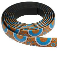 Fantasy 10mm Flat PVC Cord - Turquoise & Brown Circles - per inch