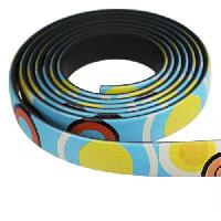 Fantasy 10mm Flat PVC Cord - Multi-Color Large Circles - per inch