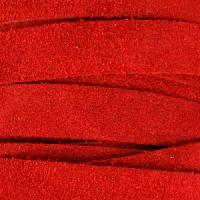 Suede 10mm Flat Cord - Red - per inch