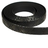 Fantasy 10mm Flat PVC Cord - Black on Black Waves