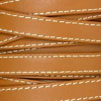 10mm Stitched Flat Leather Cord - Brown - per inch