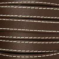 10mm Stitched Flat Leather Cord - Dark Brown - per inch