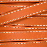 10mm Stitched Flat Leather Cord - Orange - per inch