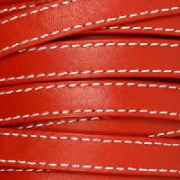 10mm Stitched Flat Leather Cord - Red - per inch