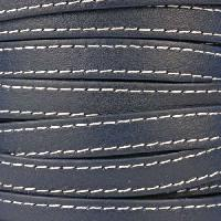 10mm Stitched Flat Leather Cord - Navy - per inch
