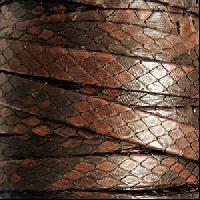 Genuine Snakeskin 10mm Flat Leather Cord - Brandy - per inch