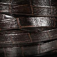 Nile 10mm Flat Leather Cord - Dark Brown