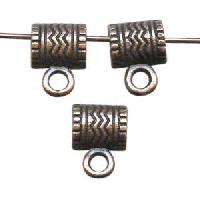 Pewter Bail Connector 9x7mm Wavy Lines - Antique Copper