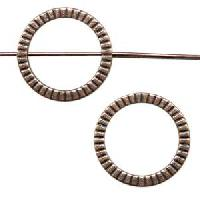 Pewter Bead Frame 20mm Round Ribbed - Antique Copper