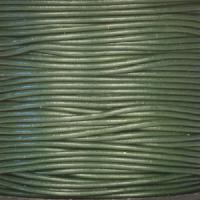 1.5mm Round Leather Cord - Dark Olive Green