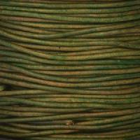 1.5mm Round Indian Leather Cord - Natural Dark Green - per yard