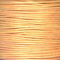 1.5mm Round Indian Leather Cord - Metallic Gold Natural Dye - per yard