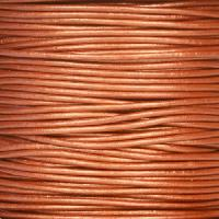 1.5mm Round Indian Leather Cord - Metallic Red Copper - per yard