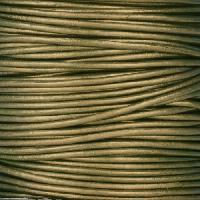 1.5mm Round Indian Leather Cord - Metallic Khaki Green - per yard