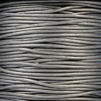 1.5mm Round Leather Cord - Metallic Grey