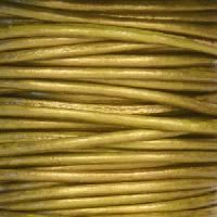 1.5mm Round Indian Leather Cord - Metallic Olive - per yard