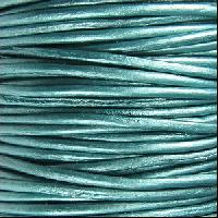 1.5mm Round Indian Leather Cord - Metallic Truly Teal - per yard