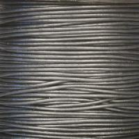 1.5mm Round Indian Leather Cord - Metallic Silver - per yard