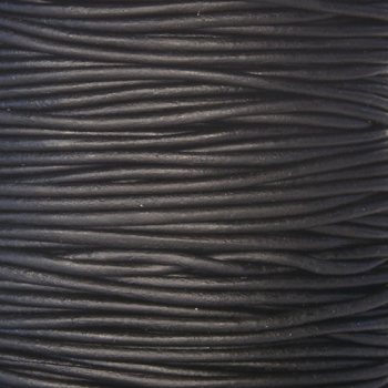 2mm Round Indian Leather Cord - Black Natural Dye - per foot