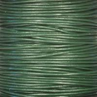 1mm Round Leather Cord - Dark Green