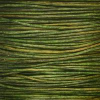 1mm Round Indian Leather Cord - Natural Dark Green - per yard