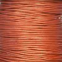 1mm Round Leather Cord - Metallic Red Copper