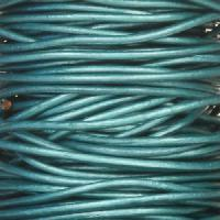 1mm Round Leather Cord - Metallic Truly Teal