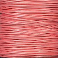 1mm Round Leather Cord - Metallic Mystique Pink