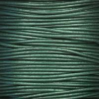1mm Round Leather Cord - Metallic Ocean Green