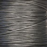 1mm Round Leather Cord - Metallic Gunmetal