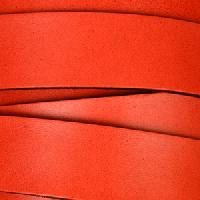 20mm Flat Leather Cord - Red - per inch