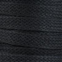 Braided Bonded 20mm Flat Leather Cord - Black - per inch