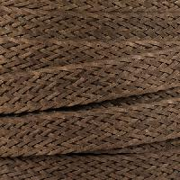 Braided Bonded 20mm Flat Leather Cord - Brown - per inch