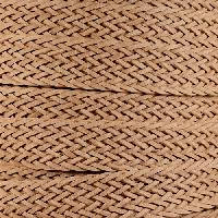 Braided Bonded 20mm Flat Leather Cord - Natural - per inch