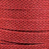 Braided Bonded 20mm Flat Leather Cord - Red
