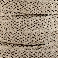 Braided Bonded 20mm Flat Leather Cord - Beige