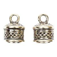B&B Benbassat 10mm Mesh Large Hole End Cap (2) - Antique Silver