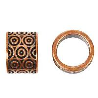 B&B Benbassat 10mm Circles Round Leather Cord Slider - Antique Copper