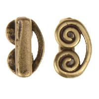 B&B Benbassat 5mm Curlicue Flat Leather Cord Slider - Antique Brass