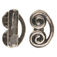 B&B Benbassat 5mm Curlicue Flat Leather Cord Slider - Antique Silver
