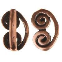 B&B Benbassat 10mm Curlicue Flat Leather Cord Slider - Antique Copper