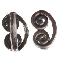 B&B Benbassat 10mm Curlicue Flat Leather Cord Slider - Antique Silver